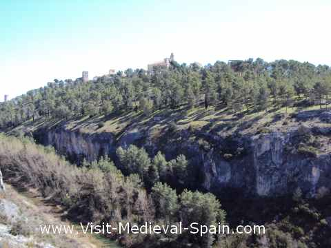 The medieval village of Alarcon showing the cliffs which helped defend the town, Spain