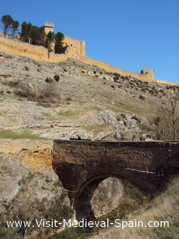Medieval bridge and battlements of Alarcon, Spain