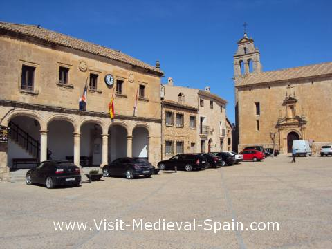 The town hall and medieval cathedral of Alarcon, Spain