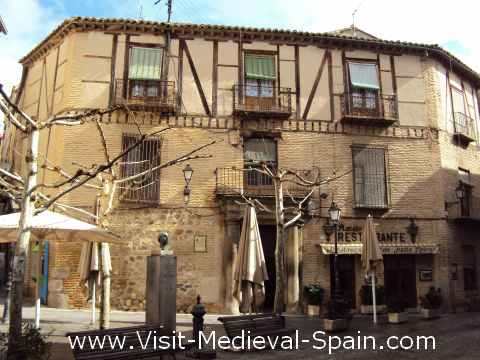 Half timbered buildings in the medieval centre of Toledo, Spain.