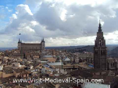 Panoramic view of the Spanish city of Toledo.The photo was taken from the towers of the Church of St Idelfons and shows a large portion of the city and surroundings including the Alcazar.