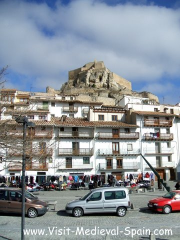 Ruined Castle of Morella Spain stands above medieval houses