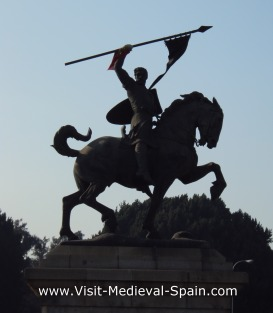 Statue of Spanish heroe El Cid on horeseback in Seville Spain