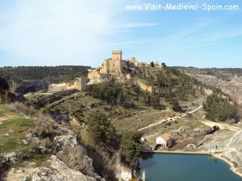 The medieval Castle and village of Alarcon and surrounding mountains, Spain