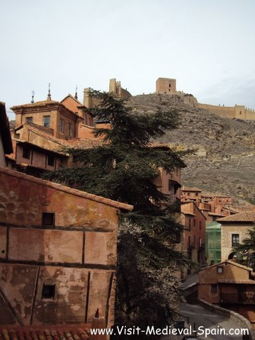 Medieval houses and fortifications in the village of albarracin, Spain