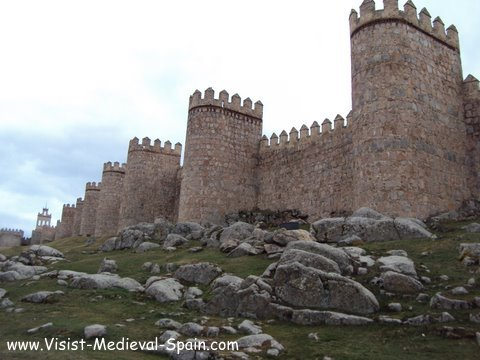 Medieval Fortifeid Walls Surrounding Avila in Spain