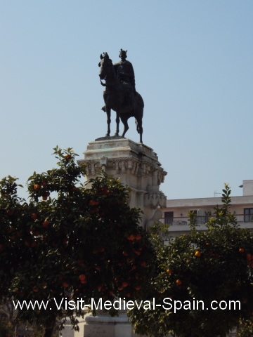 Statue of a medieval Spanish king on horseback