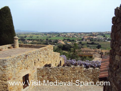 Distant views of the Costa Brava from Pals medieval village