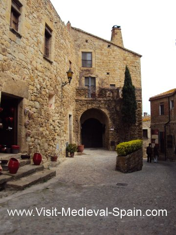 Medieval stone houses in the picturesque village of Pals, Costa Brava.