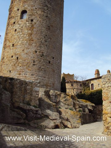 Imposing medieval stone watchtower Pals Northern Spain